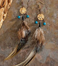 Beaded Charm Feather Earrings