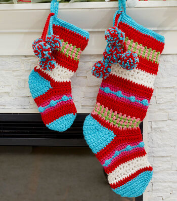 How To Crochet Pompoms And Stripes Holiday Stockings