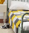 Gray and Yellow Patchwork Blanket
