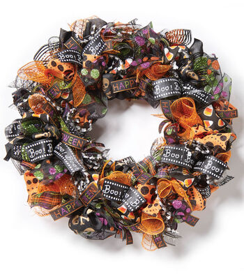 How To Make A Halloween Ribbon Wreath