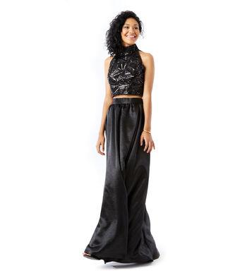 Black Sequin Top & Crushed Satin Dress
