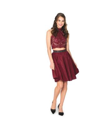 Merlot Sequin Top & Crepeback Satin Skirt