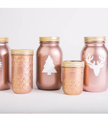 Rose Gold Holiday Mason Jars