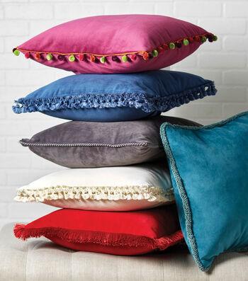"""20"""" Velvet Envelope Back Pillow With Trim"""