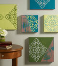 Buttercream Stenciled Colorful Wall Art