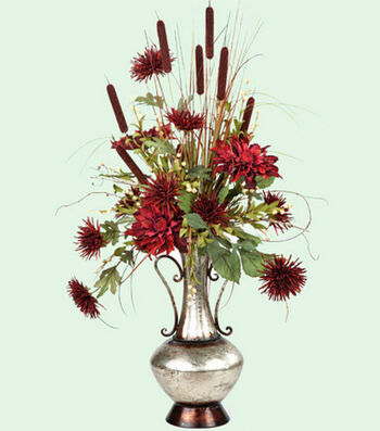 Burgundy & Silver Floral Arrangement