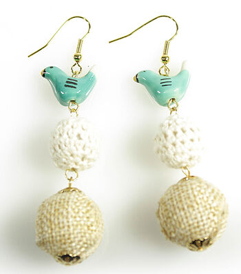 Burlap and Crochet Bird Earrings