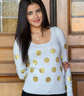 Graphically Gold Polka Dot Sweater