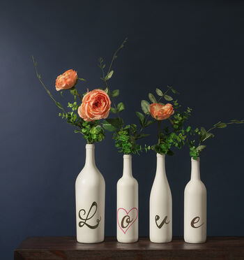 Painted Wine Bottles with LOVE