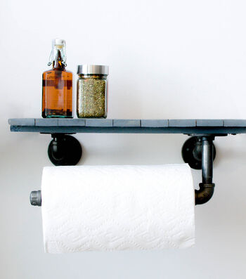 How To Make A Pipe Décor Paper Towel Holder with Shelf