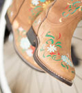 Hand Painted Daisy Leather Boots