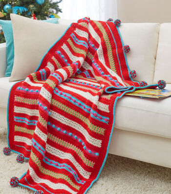 How To Crochet A Christmas Morning Striped Throw