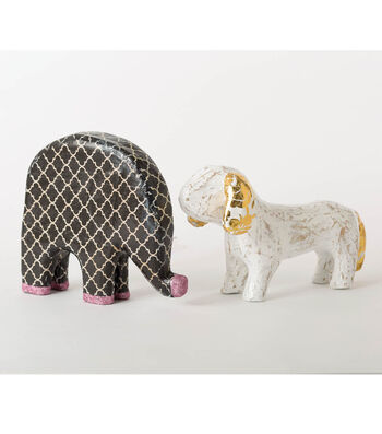 Buttercream Decoupage Dog and Elephant