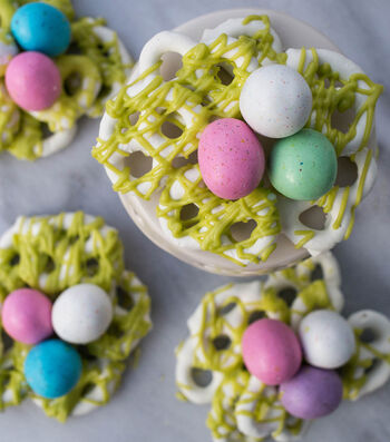 Candy Coated Pretzel Nest Recipe