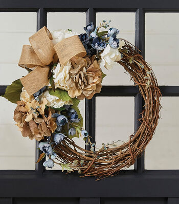How To Create A Grapevine Wreath with Burlap Ribbon