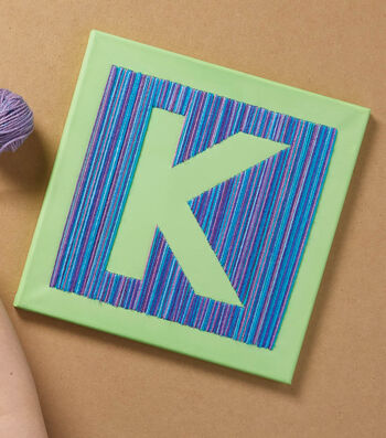 How To Make A Canvas with Yarn Embroidered Letter