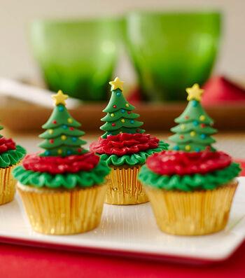 How to Make Christmas Tree Mini Cupcakes