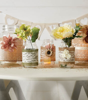 How To Make Lace and Burlap Mason Jars