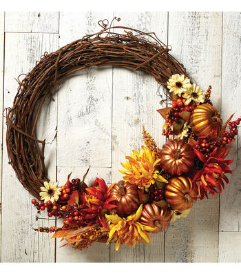 How To Make A Fall Floral and Pumpkin Wreath