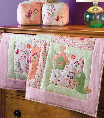 """42"""" Baby Quilt with Bird Appliqué"""