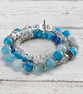 Crackle Stone and Crystal Wrap Bracelet