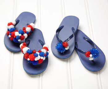 Patriotic Pompom Flip Flops