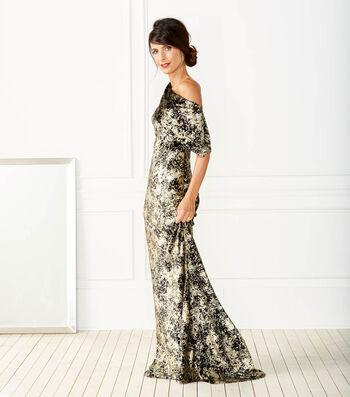 Foiled Black Velvet Dress