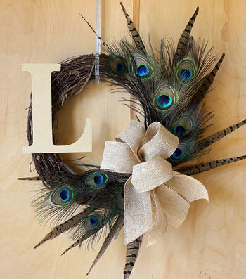 How To Make A Fall Feather Initial Wreath