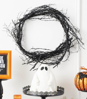 How To Make A Ghost Cake & Black Glittered Branch Wreath