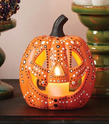Learn How To Dot Paint A Pumpkin Lantern
