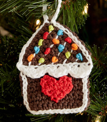 How To Make GINGERBREAD HOUSE CROCHET ORNAMENTS