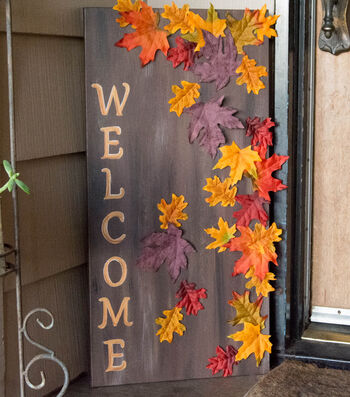 "How To Make  ""Welcome"" Canvas with Fall Leaves"