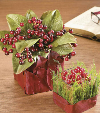Leafy Vases with Winterberries
