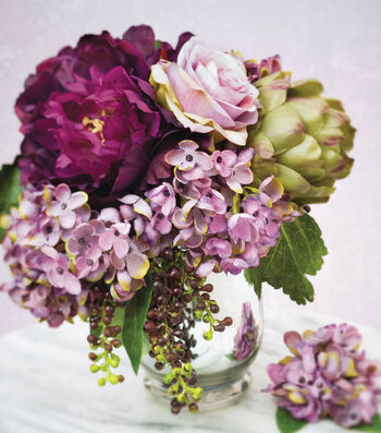 Shades of Purple Arrangement with Artichoke