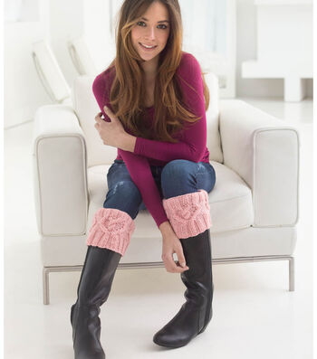 Cabled Heart Boot Cuffs