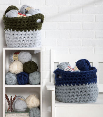 How To Make Colorblock Olive & Navy Baskets