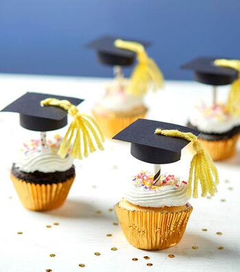 Make Graduation Cap Cupcake Toppers