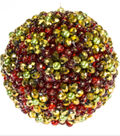 Gold & Red Sparkle Ball Ornament