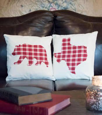 How To Make Plaid Bear and State Pillow Covers
