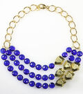Blue Crystal Gold Chunk Necklace