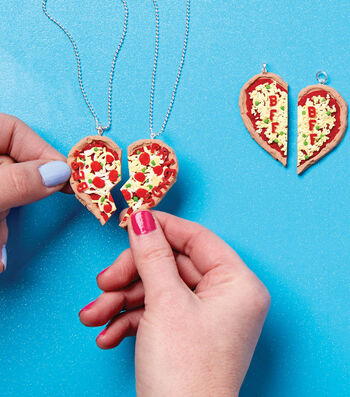 How To Make Fimo Clay Pizza Heart BFF Necklaces