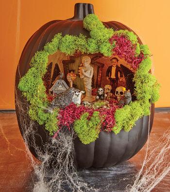Black Pumpkin Fairy Garden