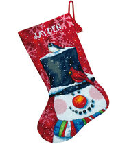 Snowman and Friends Stocking Needlepoint Kit-16inches Long In Wool and Floss