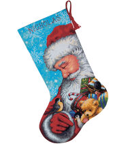 Santa And Toys Stocking Needlepoint Kit-16inches Long Stitched In Floss