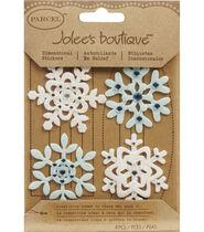 Jolees Boutique Christmas Stickers-Fun Felt Snowflakes