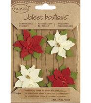 Jolees Boutique Christmas Stickers-Poinsettias