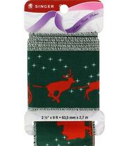 Singer Christmas Reindeer Satin Ribbon - 2 1/2inches x 9ft.