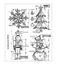 Tim Holtz Cling Rubber Stamp Set-Christmas Blueprint