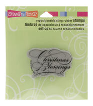 Stampendous Christmas Cling Rubber Stamp-Scripty Blessings