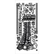 Hot Off The Press Dazzles Stickers Christmas Train Black